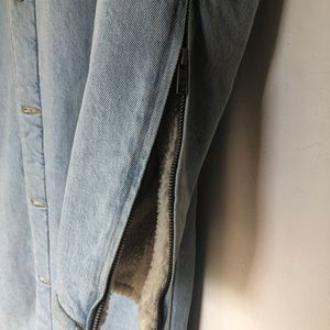 Aritzia Jackets & Coats - TNA long denim Sherpa jacket